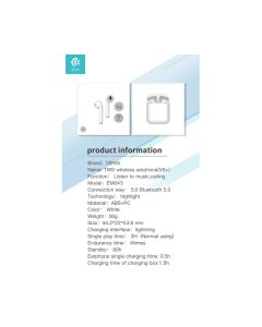 Auricolari stereo TWS Bluetooth 5.0 con box di carica DETBT006W