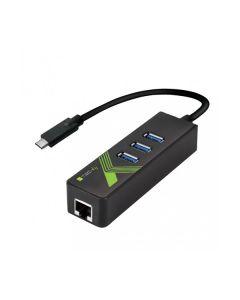 Convertitore da USB 3.0 Type C  a  Ethernet + 3pt usb IDATA USB-ETGIGA-3C2